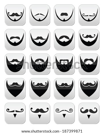 Beard with moustache or mustache vector buttons - stock vector