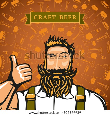 Bearded barmen on the backgrounds with beers elements. - stock vector