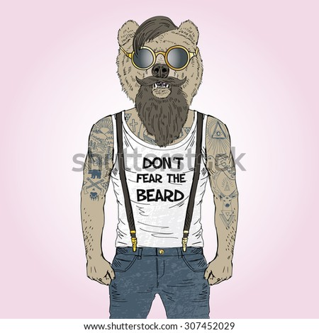 bearded bear hipster with tattoo dressed up in t-shirt with quote, furry art illustration - stock vector