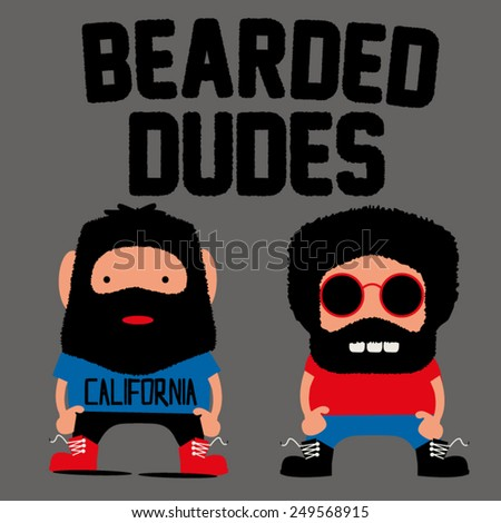 bearded dudes - stock vector