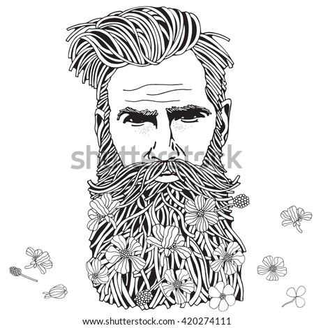 Bearded hipster man. Coloring book page for adult. Hand drawn hipster man with long beard and flowers. Black and white.  Spring flowers. Line art.