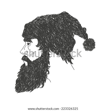 Bearded man hand drawn isolated on a white backgrounds, vector illustration - stock vector