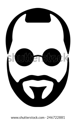 Bearded man silhouette illustration with long hair. - stock vector