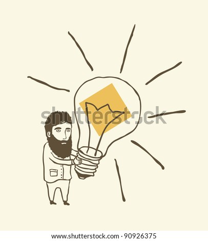 bearded man thinking with light bulb - stock vector
