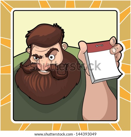 bearded man with a calendar - stock vector