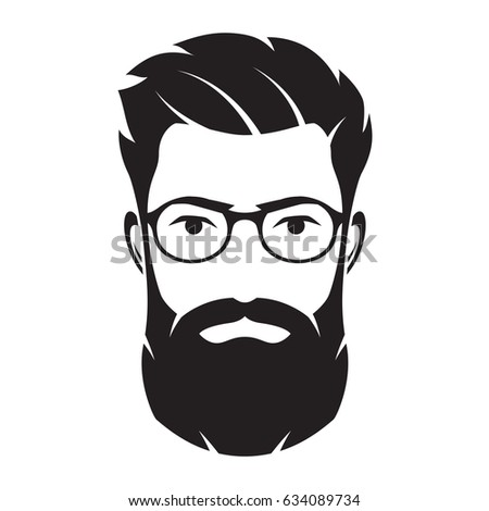 Bearded Men Face Hipster Character Fashion Stock Vector