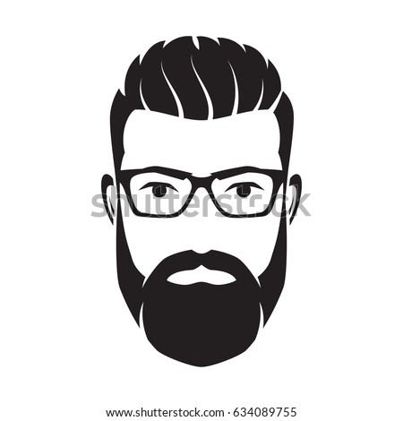 Set Vector Bearded Men Faces Hipsters 523618702 on outdoor signs