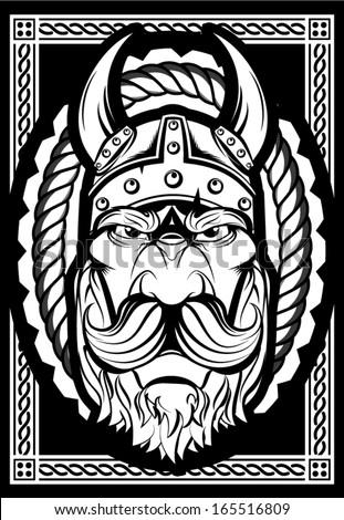 Bearded Viking - stock vector