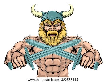 Bearded Viking Warrior mascot with crossed swords - stock vector