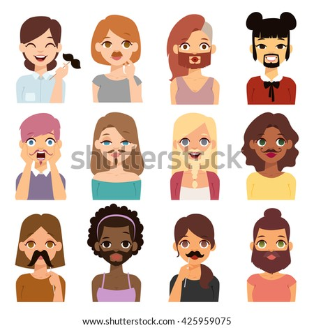 Bearded woman with glitter shape beard funny cartoon women. Just having fun bearded woman. Beautiful young short hair woman holding vector mustache woman on her face and smiling mustache woman. - stock vector