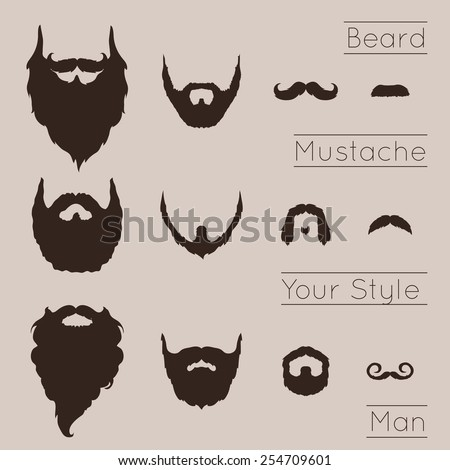 Beards and Mustaches set with flat design. Vector Illustration. - stock vector