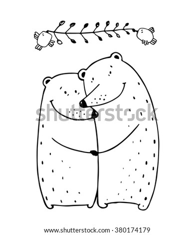 Bears Love Couple Embrace Outline. Lovers dating happy hugging romantic teddy valentine, vector illustration EPS10 transparent background. - stock vector