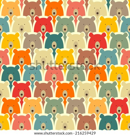 Bears seamless cartoon pattern - stock vector