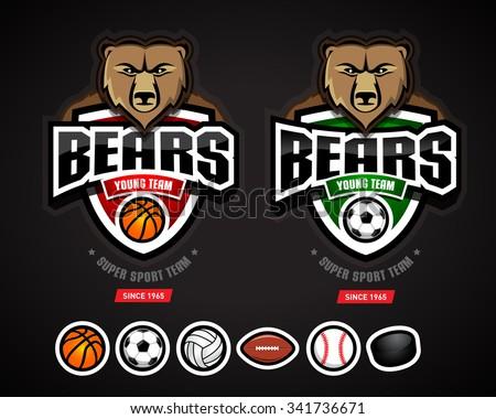 Bears sport logo team template/logotype constructor for basketball, soccer, volleyball, american football, baseball, hockey. Bear mascot. Vector illustration. - stock vector