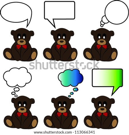 Bears with diferente bubbles for text vector - stock vector