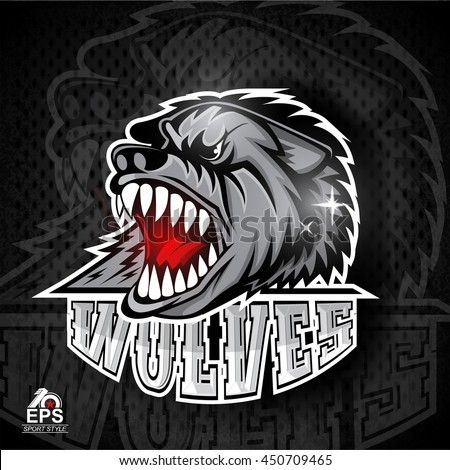 Beast head with bared teeth. Logo for any sport team wolves - stock vector