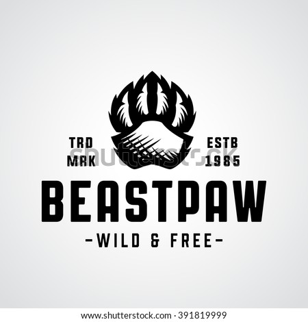 Beast Paw Original Memorable Illustrative Graphic Symbol For Your Business. Attractive Unique Sign With Taste of Wild Freedom and Power For Outdoor Company, Explorers Club etc. Vector Illustration. - stock vector