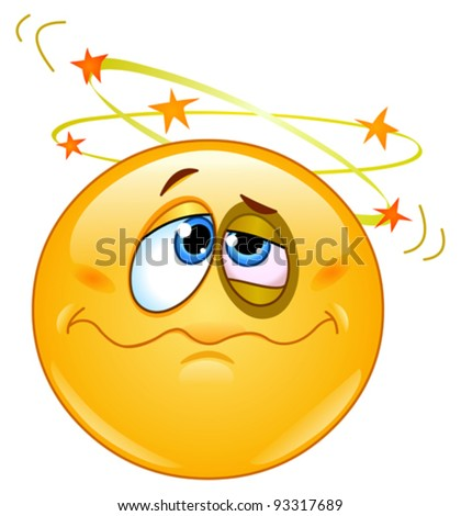 Beat up emoticon seeing stars above his head - stock vector