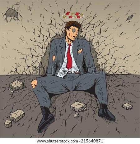 Beaten businessman  - stock vector