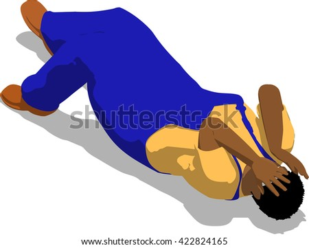 Beaten street fighter lying on the floor. African fat man in a blue overalls and a yellow t-shirt. 3d flat isometric.
