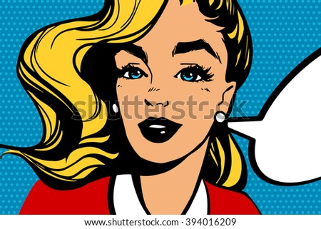Beatiful blonde smiling Pop Art Woman with speech bubble on a blue dotted background.