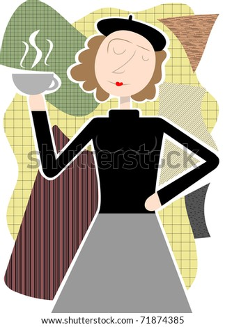 Beatnik woman holding coffee cup abstract shapes vector illustration