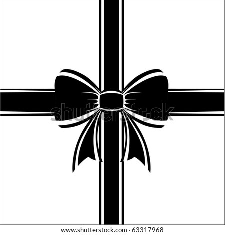 Beautiful a black gift bow on a white background, a vector. - stock vector