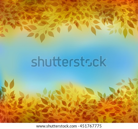 Beautiful abstract autumn background with branches and leaves