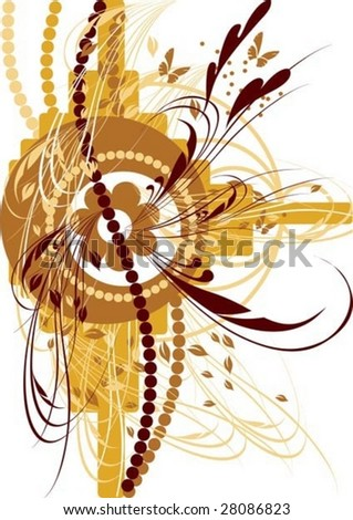 beautiful abstract background, border, branches - stock vector