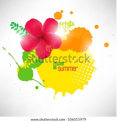 beautiful abstract digital hibiscus floral vector design