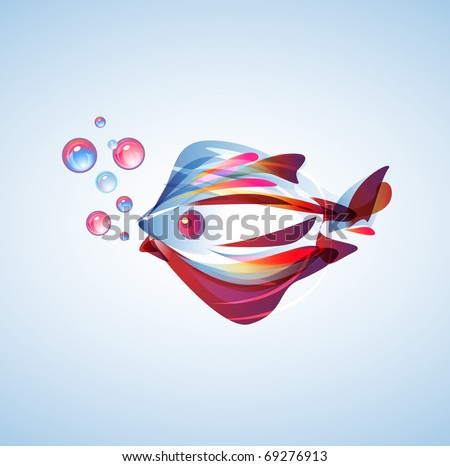 Beautiful abstract fish with bright multicolor lines
