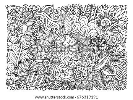 Beautiful Abstract Flower Garden Line Art For Backgroundbanneradult Coloring Book And Other
