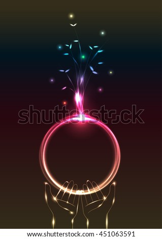 Beautiful abstract lighting effect with tree and earth on hand symbolic vector illustration - stock vector