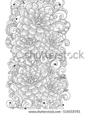Beautiful abstract monochrome seamless hand drawn floral pattern with dahlias flowers. Vector illustration. Element for design.