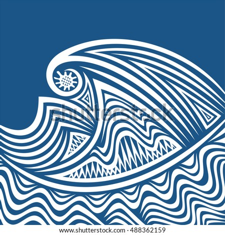Beautiful abstract sea wave. Vector illustration.