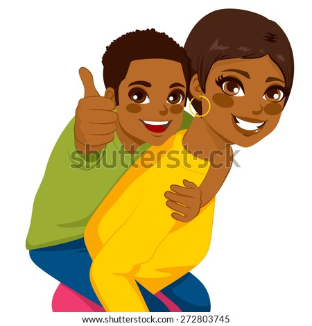 Beautiful african american brunette young mother with her son on piggyback ride smiling happy together - stock vector