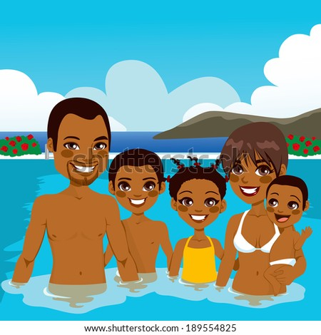 Beautiful African American family enjoying vacation time on swimming pool - stock vector
