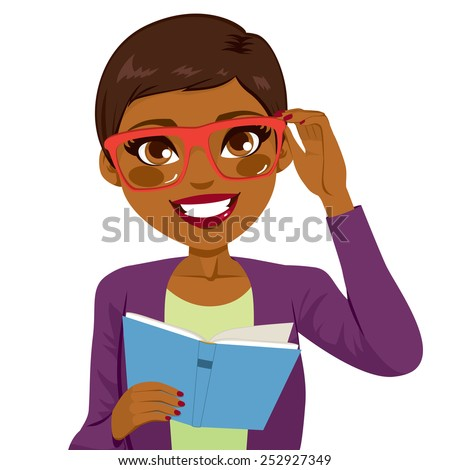 Beautiful African American girl holding glasses and reading book happy smiling looking at front - stock vector