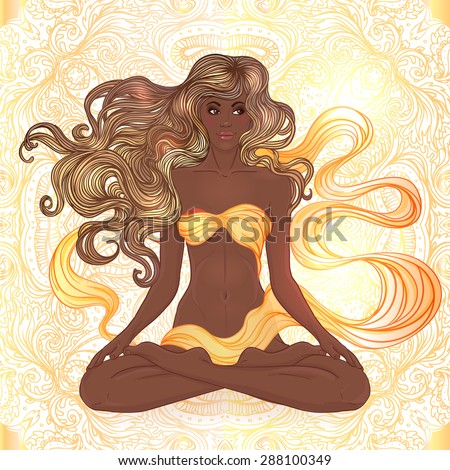 Beautiful African American Girl sitting in Lotus pose with ornate mandala on background. Vector illustration. Spa consent, yoga studio, or natural medicine clinic.