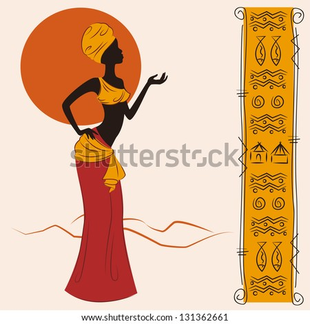 Beautiful African American woman and and ancient pattern. Hand drawing illustration. - stock vector