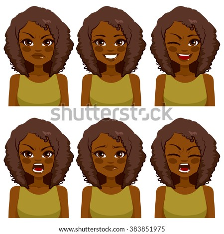 Beautiful African American woman avatar with afro hair making six different face expressions set with green shirt - stock vector