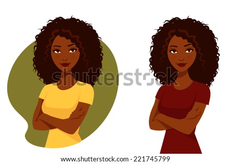 beautiful African American woman with her arms crossed - stock vector