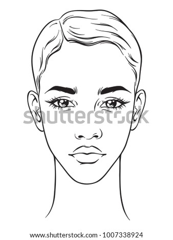 Beautiful African American Woman Short Haircut Stock Vector ...