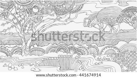 Beautiful African Landscape Coloring Pages Africa Stock Vector HD