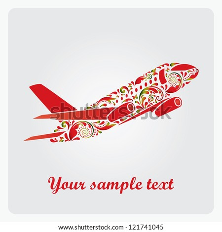 Beautiful airplane. Vector EPS10 illustration. - stock vector