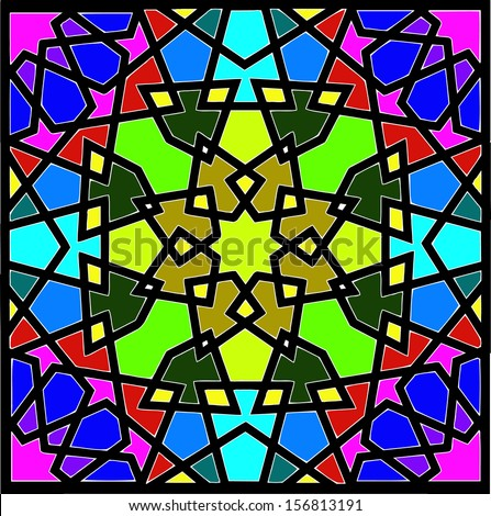 Beautiful and complex eight (8) point ancient islamic star geometric pattern ornament. This pattern can be found in few mosque constructed after 12th century during Mamluki,Ghurid & Ottoman dynasty - stock vector