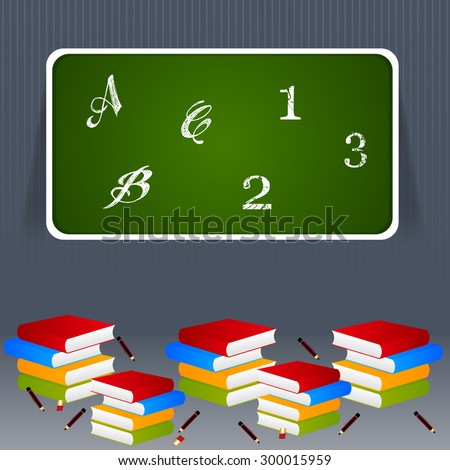 beautiful and creative vector abstract for Back to School with nice and colorful books with green color board in a grey color background. - stock vector