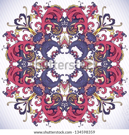 Beautiful and detailed floral ornament. Very easy to edit.
