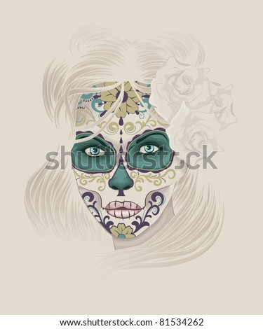 Beautiful and elegant Calavera Catrina or Sugar Skull Lady with detailed hair and face paint for Day of the Dead or Dia de los Muertos. - stock vector
