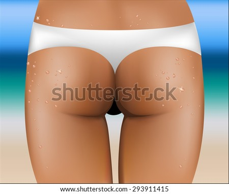 Beautiful and sexy female butt. Without cellulite. - stock vector